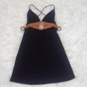 Guess black and leather wood club dress